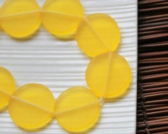 Lemon Resin Beads, Large Yellow Resin Coin Beads (3) 30mm