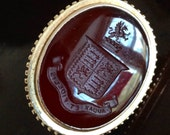 14K Gold Carnelian Seal Fob Intaglio Coat of Arms Griffin and Axe - Husband Gift