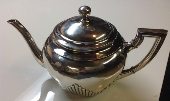 800 Silver Art Deco Teapot Germany Sterling