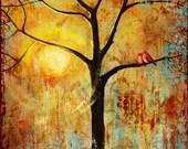 Tree Print Red Love Birds, for Couples Gift, Lovebirds Print, Sunshine, Sunny, Romantic, Inspiring,Sunset | Various Sizes
