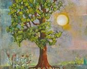 Tree of Life Artwork, Original Canvas Painting, You Are My Sunshine, Mixed Media, Sunny, 16X20 | Morning Has Broken