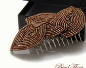 Bronze Fall French beaded leaf hair comb - autumn hair accessory for the bride or bridesmaid, rustic, earthy