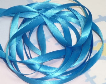 AEGEAN BLUE DouBLe FaCeD SaTiN RiBBoN, Polyester 1/4 inch wide, 5 Yards