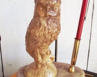 Vintage Owl Pen Holder - Desk Accessory - Handmade - Resin