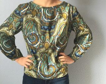 Vintage Paisley Blouse - 1960s - Cotton - Handmade - Small - Medium - 42 Bust