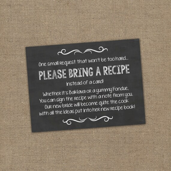 Please Bring a Recipe Instead of a Card Insert by ...