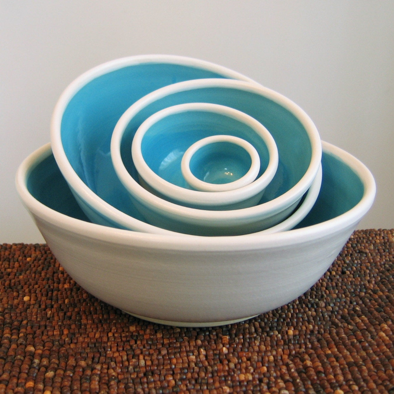Ceramic Nesting Bowls in Sky Blue Large Set of Stoneware