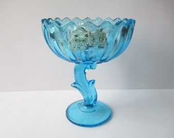 Vintage Indiana Glass Blue Lotus Compote