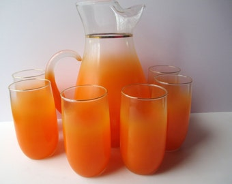 Vintage Orange Blendo Pitcher and Glasses Set of Six - Retro
