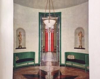 1923 antique vintage print-  architectural interior rendering - Professor Bruno Paul