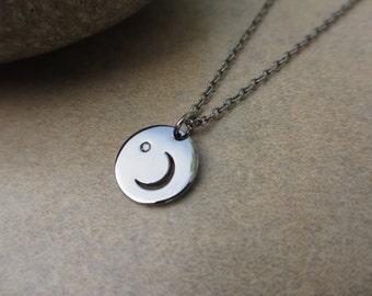 Moon Necklace, Diamond, Black, Sterling Silver, Dark Moon, Crescent Moon, Irisjewelrydesign