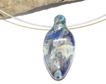 Hand Made, Borosilicate Glass, Abstract Penant, Dark blue, Sky Blue and Navy bu Misty Creek Studio Artist Terry Sieber