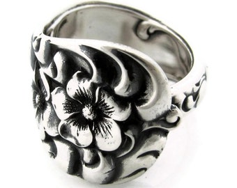 Rococo Heavy Sterling Silver Spoon Ring From 1888