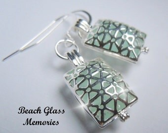 Sea Glass Earrings Beach Glass Locket Earrings Seaglass Earrings
