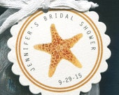 Personalized Bridal Shower Favor Tags - Bridal Shower Tags - Gift Tags - Wedding Tags - Round Tags - Starfish - Personalized Tag - 25