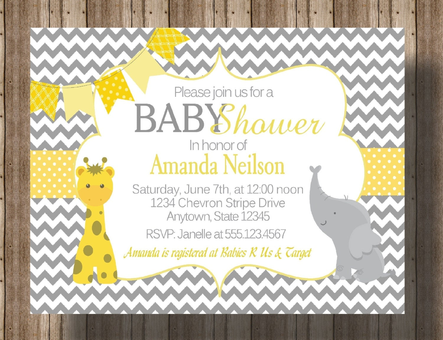 Gray And Yellow Baby Shower Invitations Part - 48: ?zoom