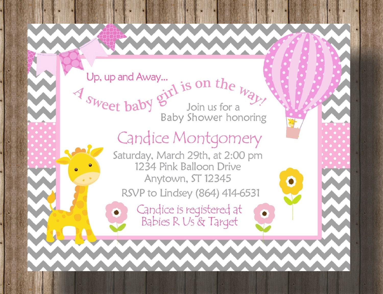 baby shower invitation chevron pink and gray giraffe baby