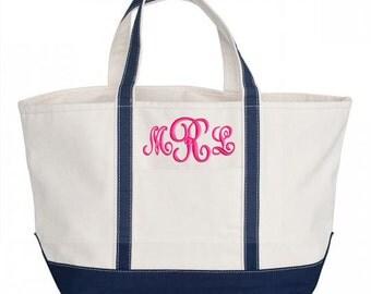 Monogram Canvas Tote Bag Boat Bag Zipper Top Large Tote 5 Colors