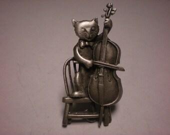 jj pewter pin cooooool CAT an A FIDDLE