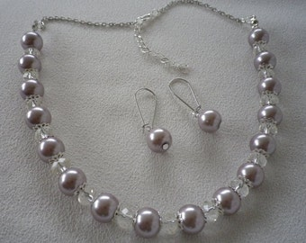 SALE Taupe Pearl and Crystal Necklace and Complimentary Earrings
