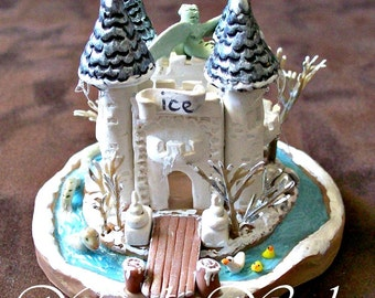 Ice Dragon Castle Miniature FantasyTerrarium Ornament Collectible Fine Art Sculpture Loch Ness Protected Castle with Mote