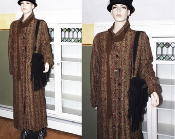 Vintage 80s 60s 70s vibe Tapestry maxi Blanket Coat jacket paisley overcoat kilim ethnic boho festival plus size oversize W US SHIPPING