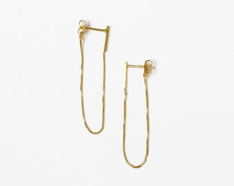 Chain Stud Earrings, Minimalist Gold Earrings, Everyday Gold Earrings, Gold Drop Earrings