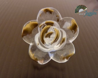 Transparent Gold Flower Beads, Acrylic, 25mm  - 9x