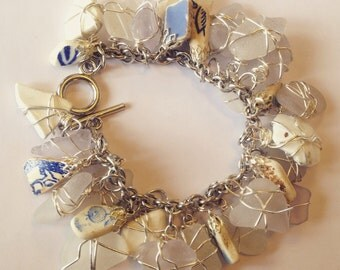 CUSTOM ORDER Sea Glass Charm Bracelet