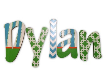 M2M Caden Lane Bright Baby Green Custom Hand Painted Letters Wooden Wall Letters Hanging Baby Name Letters Nursery Decor Wall