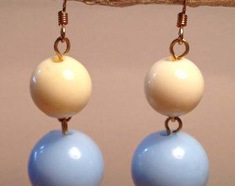 Vintage blue, cream beaded earrings