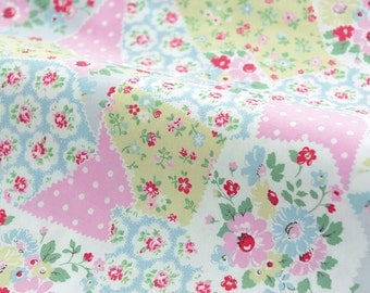 3930 - Cath Kidston Floral Patchwork Twill Flannel Cotton Fabric - 57 Inch (Width) x 1/2 Yard (Length)