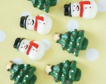 6 pcs Christmas Cabochon Set (Christmas tree/Snow man) DR454