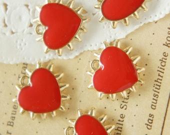 5 pcs Spiky Gold Heart Charm (17mm18mm) Red AZ106
