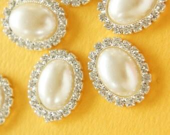 2 pcs Oval Gorgeous Acrylic Rhinestones  (20mm25mm) Pearl  AZ027