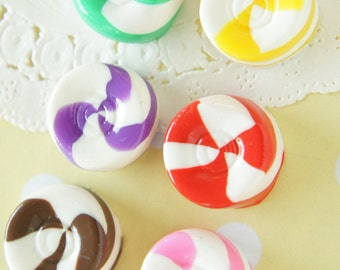 6 pcs Polymer Clay Marble Candy Cabochon (19mm) CD574