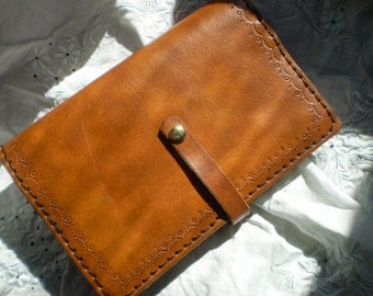 Range Tan Leather Journal Cover With Snap Closure
