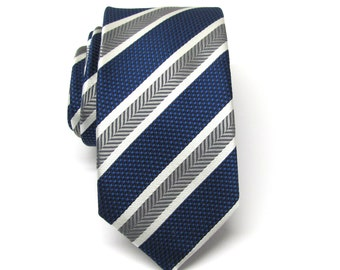Mens Tie. Necktie Blue and Gray Stripes Mens Skinny Tie