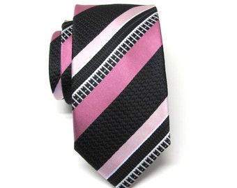Mens Tie. Necktie Rose Pink and Black Stripes Mens Skinny Tie