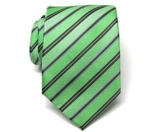 Mens Ties. Necktie Green and Black Stripes Mens Tie