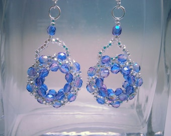 Transparent Purple/Pink Beaded Ring Earrings