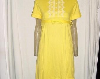 Vintage 60s Yellow Empire Waist Eyelet Mini Dress Small Short Sleeve