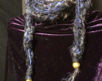 Necklace Lariat Scarf Sparkling Blacks BluesThin Long Hand Knit Textured Softness Neck Warmer With Brass Bead Weighted Ends