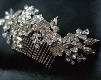 Wedding rhinestone hair comb - Bridal haircomb - Blooming Marvellous -  Made to order -