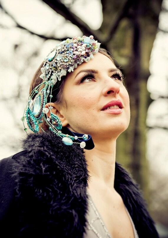 Wedding headpiece  Bridal Headdress THE PEACOCK EMPRESS - vintage rhinestone brooches headband