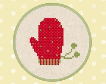 Red Mitten. Modern Simple Cute Counted Cross Stitch PDF Pattern. Instant Download