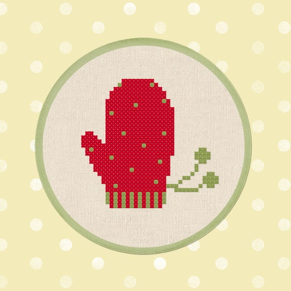 red mitten cross stitch pdf pattern