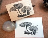 Mushroom Rubber Stamp  - Handmade by BlossomStamps