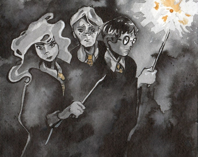 Featured listing image: Harry Potter Art Print - Original Ink Depiction of Harry Hermione and Ron by Jen Tracy - Reproduction of Painting of Harry Potter