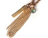 Tassel Necklace w/ Vintage Brass Secret Container and Faceted Green Amethyst Teardrop Gemstone, Simple  Modern Classic FREE SHIPPING